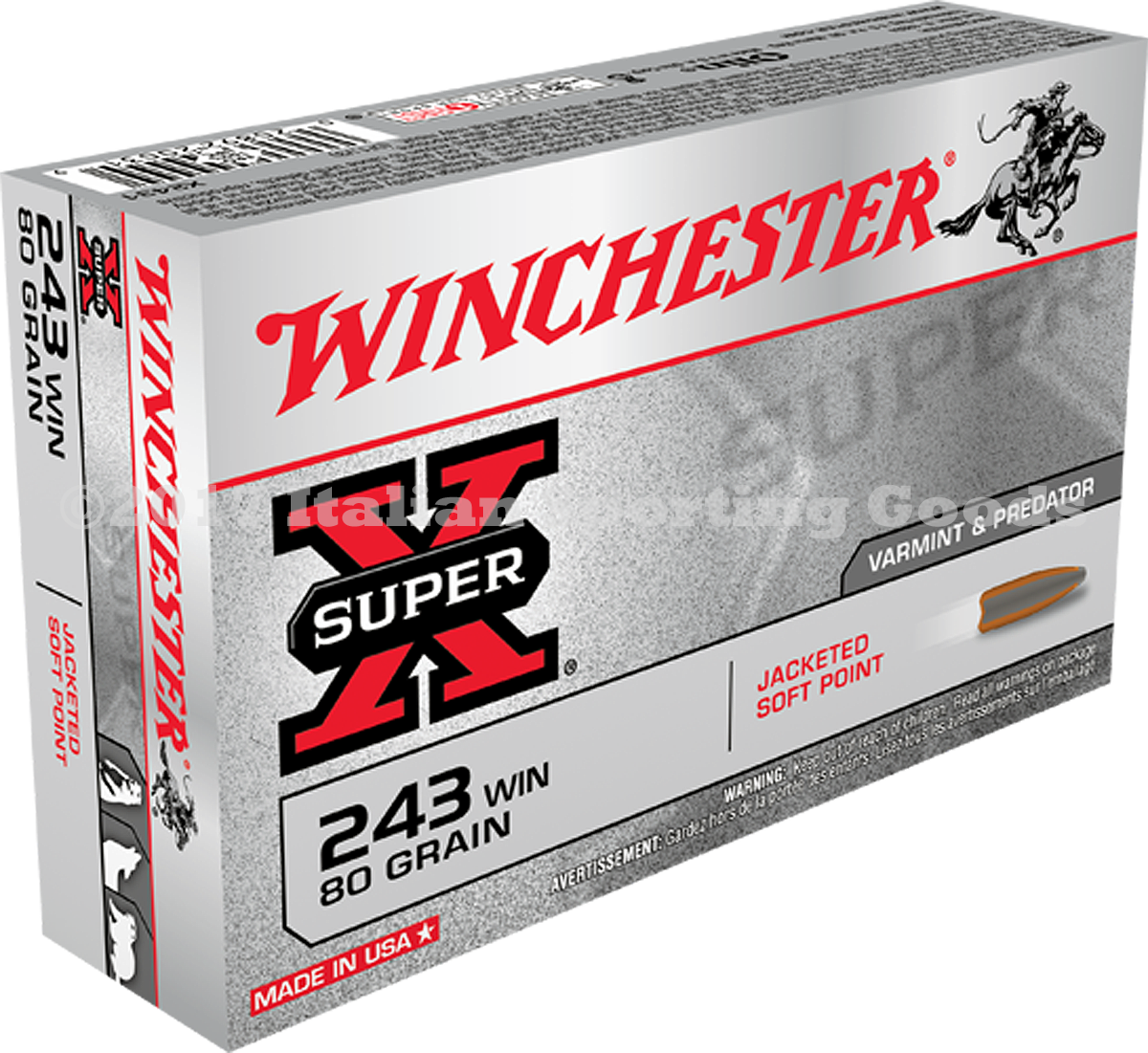 Winchester 243 Win, 80 Gr Pointed SP