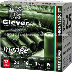 """Clever Mirage High Velocity 12 Ga, 2 3/4"""" 1 1/4 Oz #6 / 25 Rds"""