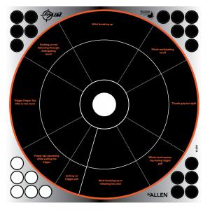 "Allen EZ Aim Reflective Adhesive Splash 12"" Bull's Eye Handgun Trainer Target, 4 Targets"