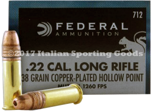 Federal 22 LR, 38 Gr Copper Plated HP