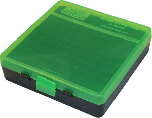 MTM Case-Gard 100 Rd Pistol Flip Top 45 ACP, 40 S&W, 10MM P100 Series Clear Green/Black Box