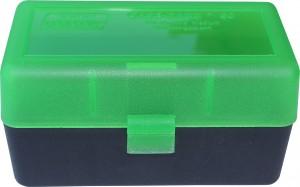 MTM Case-Gard 50 Rd Rifle Flip Top, 243, 308, 7MM-08 R50 Series Clear Green/Black Box