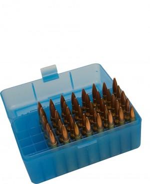 MTM Case-Gard 50 Rd Flip Top Rifle Box 204 Ruger & 223, R50 Series Clear Blue Ammo Box