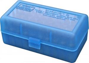 MTM Case-Gard 50 Rd Flip Top Rifle WSSM & 500S&W, R50 Series Clear Blue Ammo Box