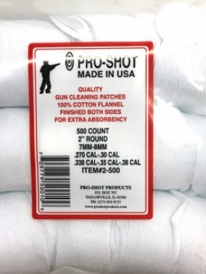 """Pro-Shot Products 2"""" Rnd .270-.38 Cal Round Cotton Patches 1000 Pk"""