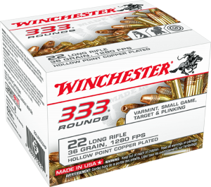 Winchester 22 LR, 36 Gr Copper Plated HP