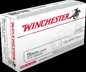 Winchester 9MM Luger, 115 Gr FMJ Caselot