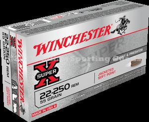 Winchester 22-250 Rem, 55 Gr Pointed SP